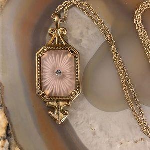 RARE Vtg Avon Camphor Glass Starburst Necklace